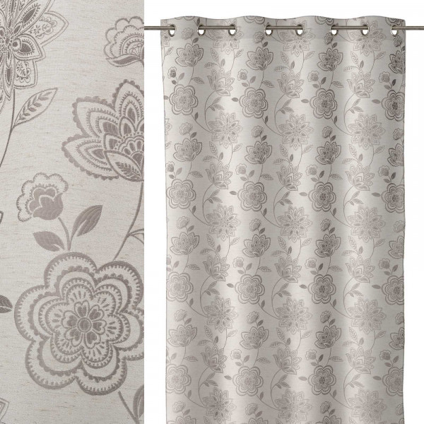 Cortina de 140x260 provenzal gris de microfibra lola home for Cortinas salon gris