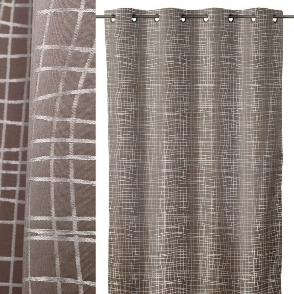 Cortina marr n de microfibra de 140x260 moderno lola home for Cortinas salon marron