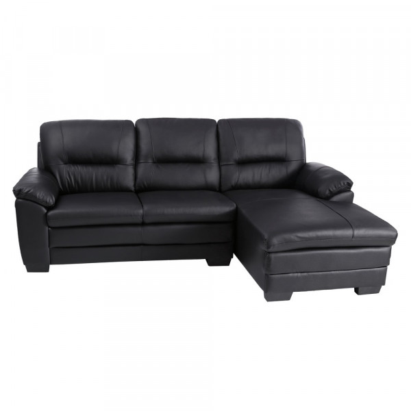 Sof de chaise longue industrial negro de piel lola home for Sofas chaise longue de piel