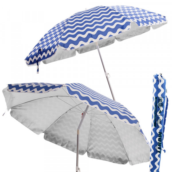 Sombrilla para playa plegable azul de poli ster lola home - Sombrillas de playa plegables ...